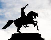 Silhueta do cavalo e do cavaleiro Imagem de Stock Royalty Free