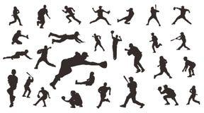 Silhueta do conceito de projeto da ilustração do vetor do basebol do jogador, molde do projeto do vetor do esporte ilustração stock