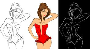 Silhueta do corpo womanish bonito. Imagens de Stock