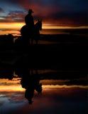 Silhueta do cowboy fotografia de stock