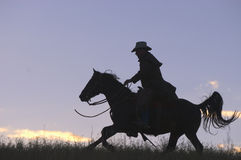 Silhueta do cowboy Fotografia de Stock Royalty Free