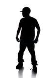 Silhueta do dançarino de Hip Hop Fotografia de Stock Royalty Free