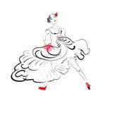Silhueta do dançarino do tango Foto de Stock Royalty Free