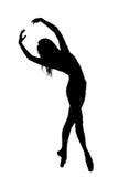 silhueta do dançarino fêmea em preto e branco Foto de Stock
