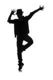 Silhueta do dançarino masculino Imagens de Stock
