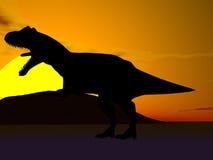 Silhueta do dinossauro Fotografia de Stock
