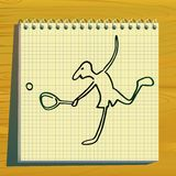 Silhueta do doodle do jogador de ténis. Imagem de Stock Royalty Free
