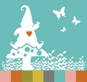 Silhueta do duende do Natal em um cogumelo Imagem de Stock Royalty Free