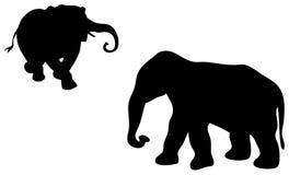 Silhueta do elefante Fotografia de Stock