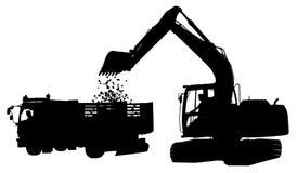 Silhueta do escavador e do caminhão imagem de stock