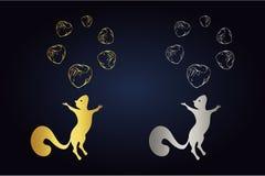 Silhueta do esquilo e círculo de salto das avelã na parte superior Grupo do logotipo de esquilo com as seis porcas em cores doura ilustração royalty free