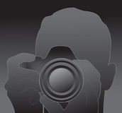 Silhueta do fotógrafo ilustração stock