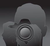Silhueta do fotógrafo Fotografia de Stock Royalty Free