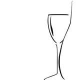 Silhueta do frasco e do wineglass no backgroun branco Fotos de Stock