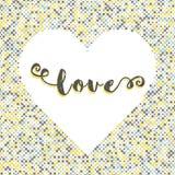 Silhueta do fundo do ponto da rotulação do amor do coração Foto de Stock Royalty Free