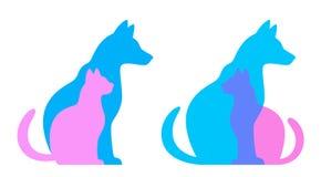 Silhueta do gato e do cão Imagem de Stock