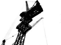 Silhueta do guindaste de torre da construção isolada no fundo branco Indústria da construção civil, indústria do transporte, ferr ilustração royalty free