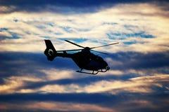 Silhueta do helicóptero Foto de Stock Royalty Free