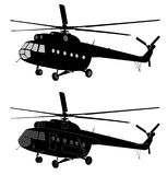 Silhueta do helicóptero do russo MI-8 Imagem de Stock