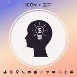 Silhueta do homem - ampola com conceito do negócio do símbolo do dólar ícone Imagem de Stock Royalty Free