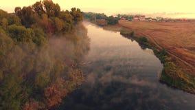 Silhueta do homem de negócio Cowering Voo sobre o rio bonito do verão filme