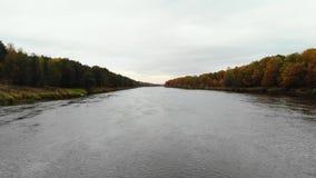 Silhueta do homem de negócio Cowering Voo sobre o rio Dia bonito do outono A câmera voa lateralmente baixo acima da superfície da video estoque