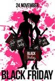 Silhueta do homem e da mulher com sacos de compras ilustração stock
