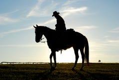 Silhueta do homem e do cavalo Imagem de Stock Royalty Free