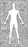 Silhueta do homem em um fundo eletrônico da tecnologia Fotos de Stock