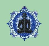 A silhueta do homem medita, cartão da ioga ilustração stock