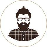 Silhueta do homem do moderno, ícone liso - um homem com vidros, bigode e barba, vestir em uma camisa de manta Fotografia de Stock Royalty Free