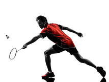 Silhueta do homem novo do jogador do badminton Fotos de Stock Royalty Free