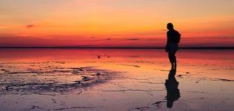 A silhueta do homem sozinho que olha para o por do sol vibrante refletiu nas águas pouco profundas do lago do solt Imagens de Stock Royalty Free