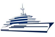 Silhueta do iate Navio barco Imagem de Stock Royalty Free