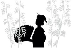 Silhueta do japonês com ventilador Fotografia de Stock Royalty Free