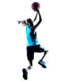 Silhueta do jogador de basquetebol da mulher Imagem de Stock Royalty Free