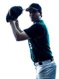 Silhueta do jogador de beisebol do homem isolada Fotos de Stock