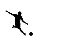 Silhueta do jogador de futebol do futebol Imagens de Stock Royalty Free