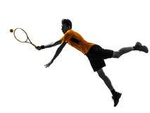 Silhueta do jogador de tênis do homem Fotos de Stock Royalty Free