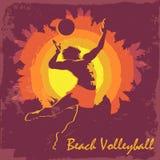 Silhueta do jogador de voleibol Fundo roxo Imagem de Stock Royalty Free