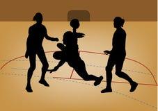 Silhueta do jogador do handball Imagens de Stock