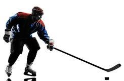 Silhueta do jogador do homem do hóquei em gelo foto de stock