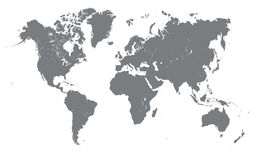 Silhueta do mapa do mundo Fotografia de Stock