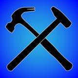 Silhueta do martelo isolada na ilustração azul do vetor do fundo imagem de stock
