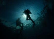 Silhueta do mergulhador fotografia de stock royalty free
