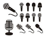 Silhueta do microfone Foto de Stock Royalty Free