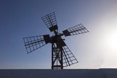 Silhueta do moinho de vento no Las Palmas Canar de Lajares Fuerteventura Imagens de Stock Royalty Free