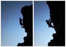Silhueta do montanhista Fotos de Stock Royalty Free