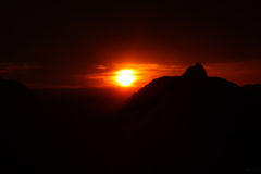 Silhueta do nascer do sol de Grand Canyon Imagens de Stock Royalty Free