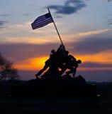 Silhueta do nascer do sol de Iwo Jima Memorial Foto de Stock Royalty Free